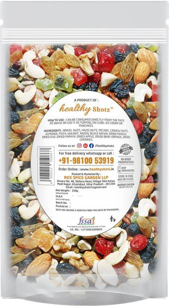 HEALTHY SHOTZ Tropical Fruity Nuts | (250g Each) LARGE STANDY (REFILL) | Healthy and Nutritious Snacks Munch Any Time Crunch