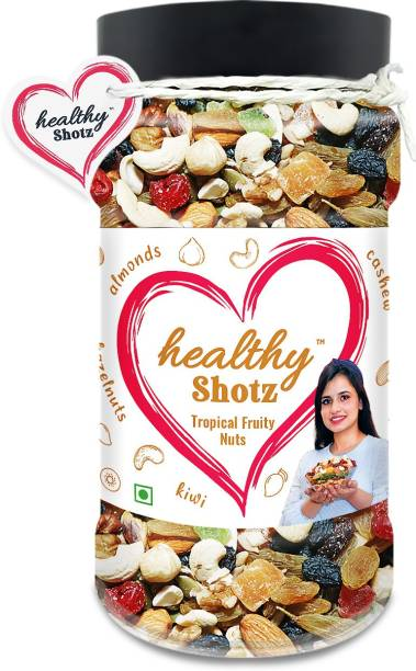HEALTHY SHOTZ Tropical Fruity Nuts | (230g Each) PET BOTTEL | Healthy and Nutritious Snacks Munch Any Time Crunch