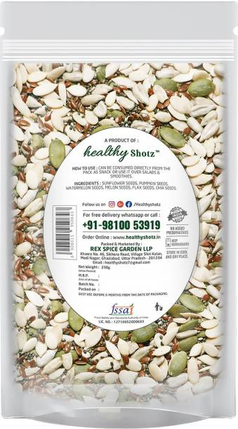 HEALTHY SHOTZ Organic Seeds | (250g Each) LARGE STANDY (REFILL) | Healthy and Nutritious Snacks Munch Any Time Crunch