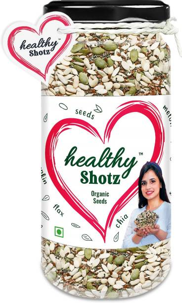 HEALTHY SHOTZ Organic Seeds | (150g Each) GLASS BOTTEL | Healthy and Nutritious Snacks Munch Any Time Crunch