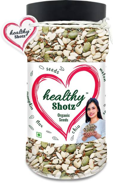 HEALTHY SHOTZ Organic Seeds | (250g Each) PET BOTTEL | Healthy and Nutritious Snacks Munch Any Time Crunch