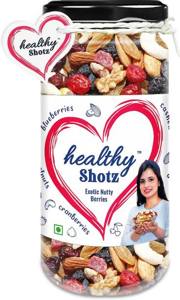 HEALTHY SHOTZ Exotic Nutty Berries Dry Fruits | (140g Each) GLASS BOTTEL | Healthy and Nutritious Snacks Munch Any Time Crunch
