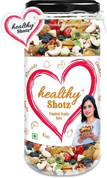 HEALTHY SHOTZ Tropical Fruity Nuts | (140g Each) GLASS BOTTEL | Healthy and Nutritious Snacks Munch Any Time Crunch