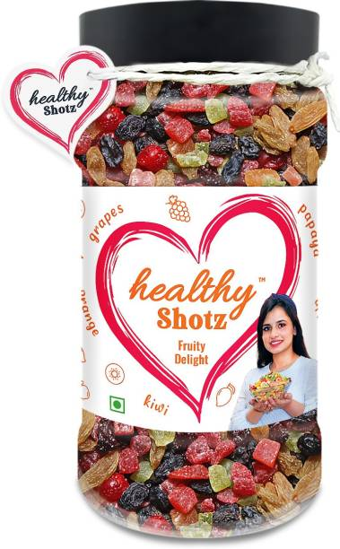 HEALTHY SHOTZ Fruity Delight | (240g Each) PET BOTTEL | Healthy and Nutritious Snacks Munch Any Time Crunch