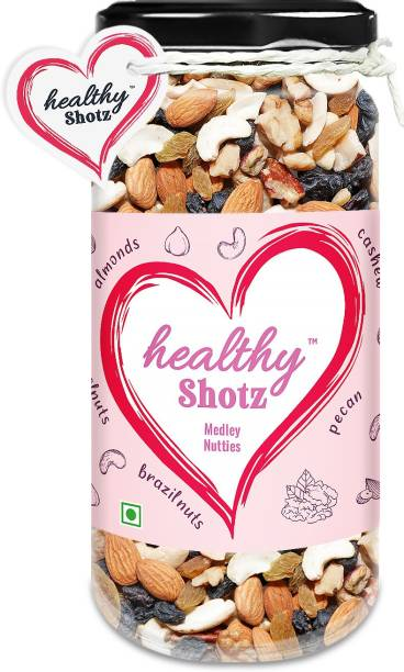 HEALTHY SHOTZ Medley Nutties | (120g Each) GLASS BOTTEL | Healthy and Nutritious Snacks Munch Any Time Crunch