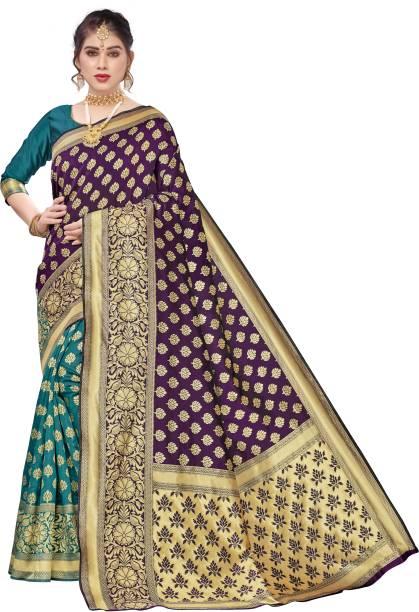VeBNoR Woven Banarasi Art Silk, Poly Silk Saree