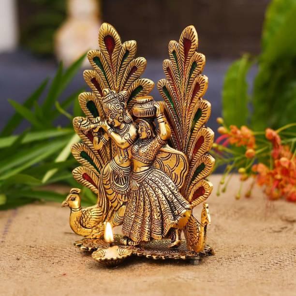 KridayKraft Radha Krishna Peacock Diya Metal Statue,Radha Krishna murti for Puja & Home Decor,Showpiece Gifts Idols,Return gift,Birthday Gift,Gift for Relatives.. Decorative Showpiece  -  20 cm