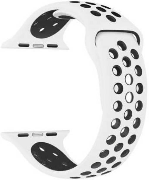 ICREATOR Soft Silicone Sport 42mm/44mm Black and Grey Air Hole Smart Watch Strap (Black, Grey) Smart Watch Strap