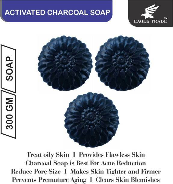 EAGLE TRADE Activated Charcoal Natural Hand Made Soap (Pack Of 3)