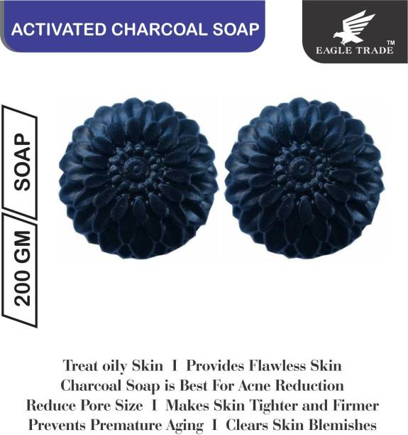 EAGLE TRADE Activated Charcoal Natural Hand Made Soap (Pack Of 2)