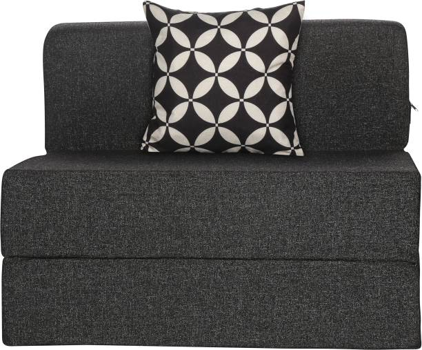 Solis Primus-comfort for all 2.5X6 ft size Sofa cum Bed for 1 Person- 1 Seater Jute Fabric Washable Cover with 1 Cushion(Multi Chain Pattern)- Dark Grey Single Sofa Bed