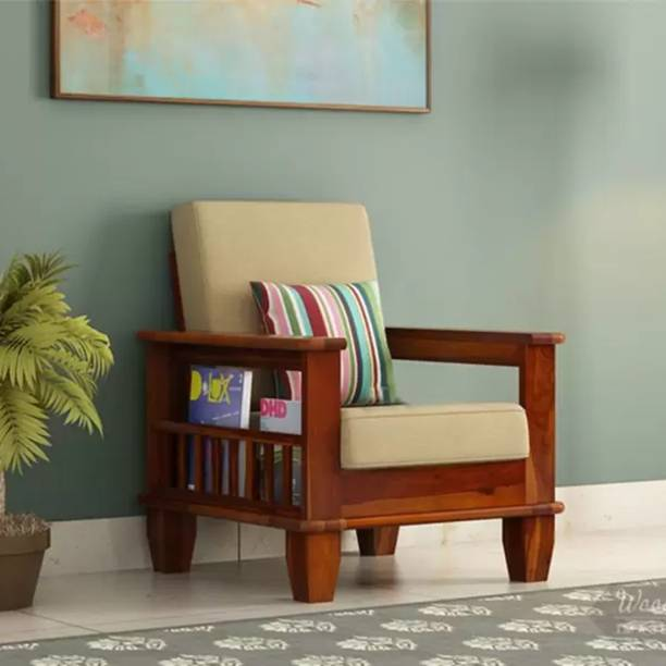 Kendalwood Furniture Solid Wood 1 Seater Wooden Sofa set for living Room Furniture Fabric 1 Seater  Sofa