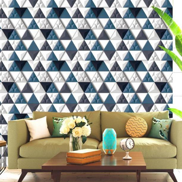 ASIAN PAINTS Large EzyCR8 P&S 3D Wallpapers Triangular Abstracts - Teal Blue Sticker