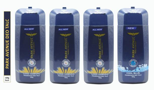 PARK AVENUE Three GOOD MORNING and One COOL BLUE FRAGRANCE DEO TALC (Pack Of 4)