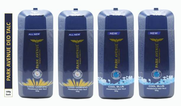 PARK AVENUE Two GOOD MORNING and Two COOL BLUE FRAGRANCE DEO TALC (Pack Of 4)