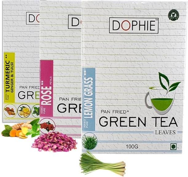 dophie Green tea Loose leaves[COMBO-PACK-3],Turmeric Ginger Tulsi Green tea-1,Rose Green tea-1,Lemon grass-1,For Immunity Booster, Weight loss and Overall Health(100g each) Herbs Green Tea Box