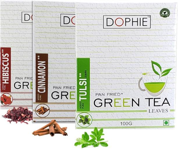 dophie Green tea leaves[COMBO-PACK-3]Hibiscus Green Tea-1,Cinnamon Green tea-1,Tulsi Green tea-1,For Immunity Booster, Weight loss and Overall Health(100g each) Herbs Green Tea Box