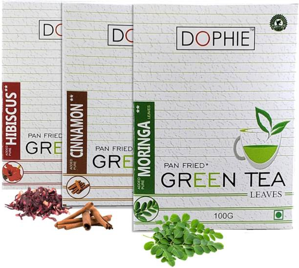 dophie Loose Green Tea[COMBO-PACK-3]Hibiscus Green Tea-1,Cinnamon Green tea-1,Moringa Green tea-1, For Immunity Booster, Weight loss and Overall Health(100g each) Herbs Green Tea Box