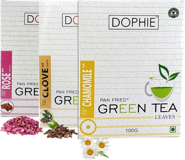 dophie Green tea for good sleep and stress relief[COMBO-PACK-3] Rose Green tea-1,Clove leaves Green tea -1,Chamomile Green tea-1,For Immunity Booster, Weight loss and Overall Health(100g each) Herbs Green Tea Box
