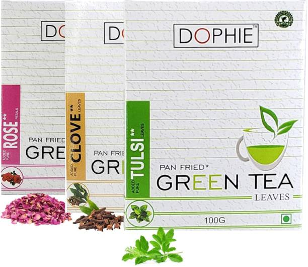 dophie Green tea leaves[COMBO-PACK-3]Rose Green tea-1,Clove leaves Green tea -1,Basil/ Tulsi Green tea-1,For Immunity Booster, Weight loss and Overall Health(100g each) Herbs Green Tea Box