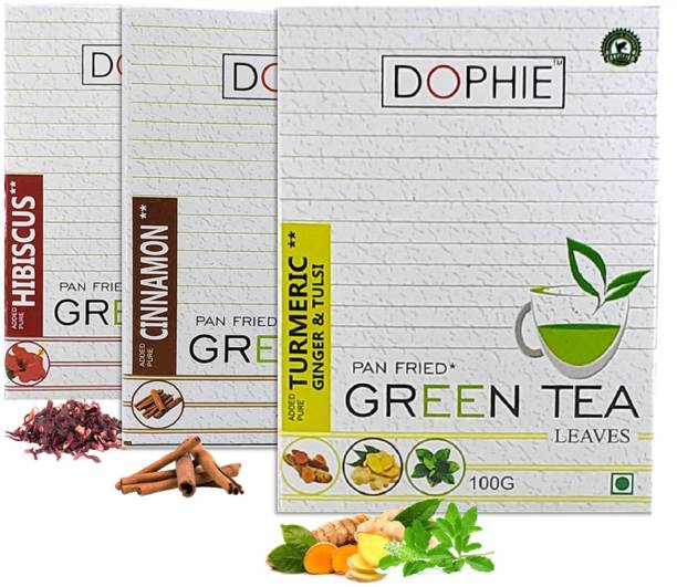 dophie Weight loss and Immunity Green Tea[COMBO-PACK-3]Hibiscus Green Tea-1,Cinnamon Green tea-1,Turmeric Ginger Tulsi Green Tea-1,For Immunity Booster, Weight loss and Overall Health(100g each) Herbs Green Tea Box