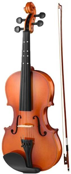 AMG Music Violin Full Set 4/4 Hand-Carved Solid Spruce Top, Solid Maple Back & Sides Voilin for Kids Beginners Students with Hard Case, Rosin, Shoulder Rest, Redwood Bow & Extra Strings 4/4 Semi- Acoustic Violin
