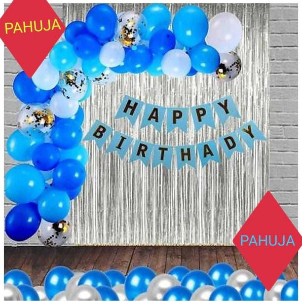 PAHUJA Solid HAPPY BIRTHDAY BLUE BENNER 2 SILVER CURTAIN 30 BLUE WHITE SILVER Balloon