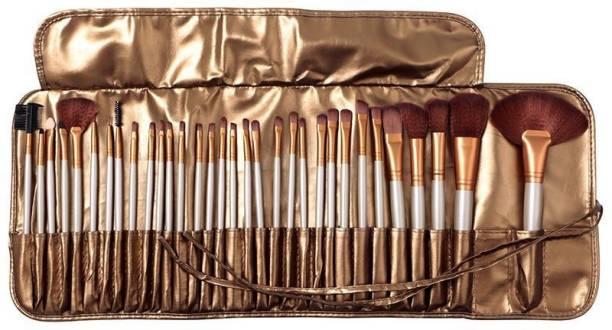BELLA HARARO Soft Skinplus 32 Piece Makeup Brushes Golden Brown Makeup Brush Set Premium Synthetic Foundation Blending Face Powder Lipstick Eye shadow Make Up Brushes Set