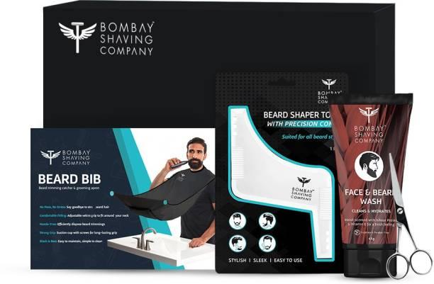 BOMBAY SHAVING COMPANY Beard Styling Kit | Face & Beard Wash, Beard Bib, Scissors and Beard Shaper Tool | Made in India
