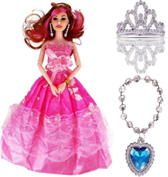 AZEENA Beautiful Beauty Doll Toy Set With Movable Joints And Ornaments For Dolls For Girls   Baby Doll For Kids For Dream Dollhouse Adventures   Gudiya Doll For Girl   Height: 30 Cm   Colour: Pink