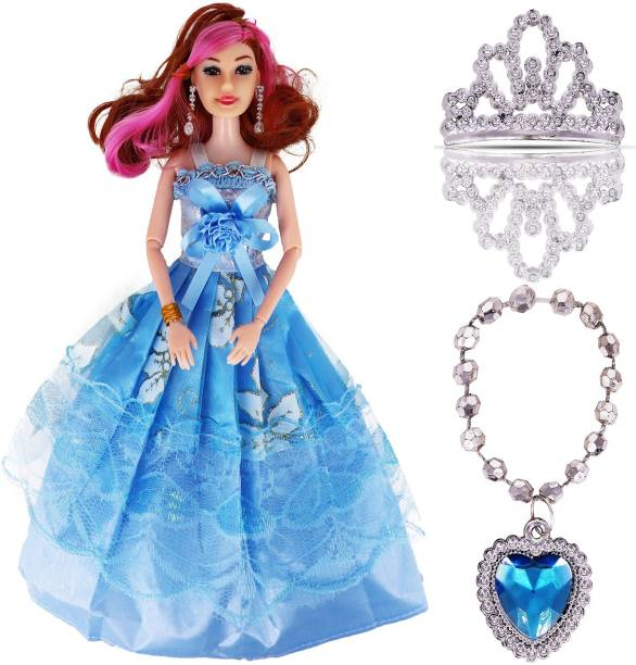 Aseenaa Beautiful Beauty Doll Toy Set With Movable Joints And Ornaments For Dolls For Girls | Baby Doll For Kids For Dream Dollhouse Adventures | Gudiya Doll For Girls | Height : 30 Cm | Colour : Blue
