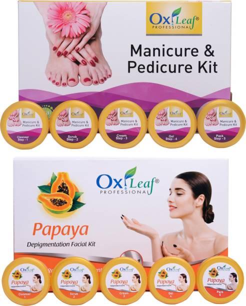 Oxileaf Professional Manicure Pedicure Hand-Foot Care Kit & Papaya De-Pigmentation Facial Kit Combo