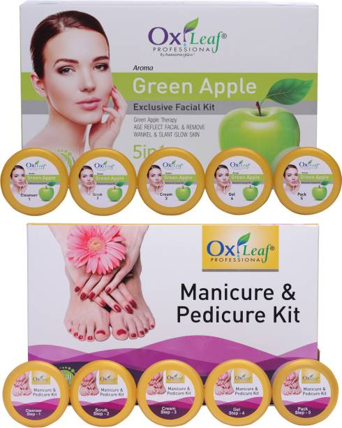 Oxileaf Professional Manicure Pedicure Hand-Foot Care Kit & Green Apple Exclusive Facial Kit Combo