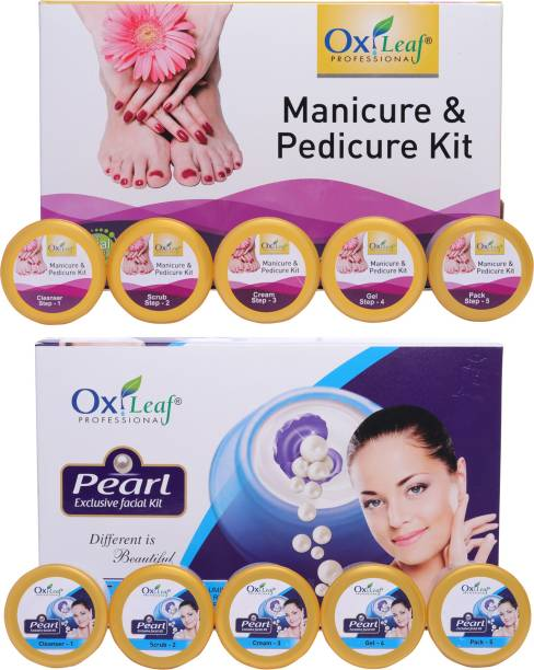 Oxileaf Professional Manicure Pedicure Hand-Foot Care Kit & Pearl Exclusive Facial Kit Combo