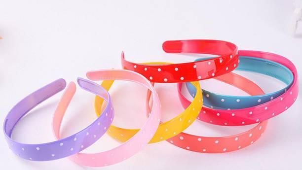 HOMEMATES Set of 12 Fashion Plastic Polka Hair band Headband Headwear Hair Accessories for Women's Lady Girls (Multi-Color) Hair Band