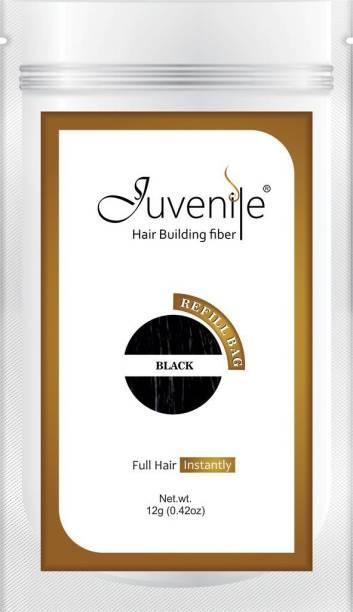 Juvenile Hair Loss Concealor Hair Fiber Refill Bag Black 12 gm JVNLRB12BL Extreme Hair Volumizer Hair Building Fiber