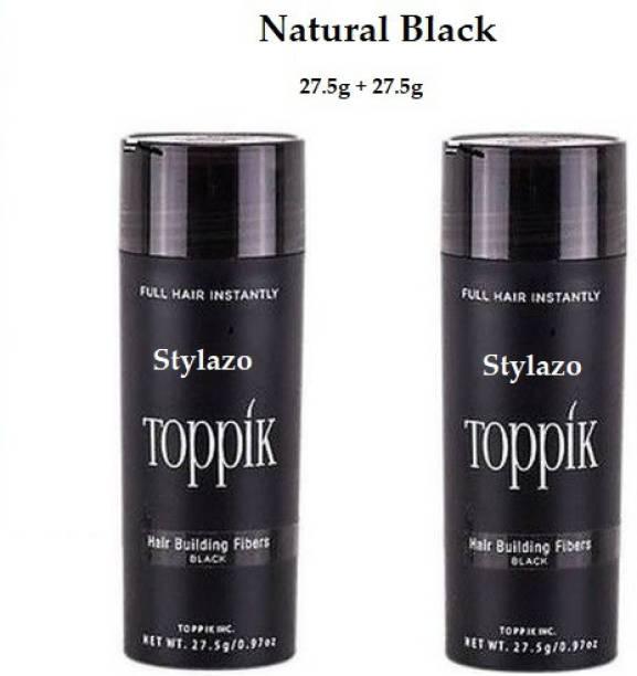 Stylazo Toppik Black Hair Building Fibers Hair Volumizer (55 grams) Black 2 Units of 27.5 gm each Hair Fiber(55g) Natural Black 3165462 Soft Hair Volumizer Powder