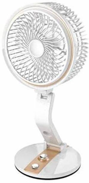 KAMALY Multiposition fan & LED light with USB Charger Rechargeable Folding Fan with LED light Rechargeable Fan, USB Fan, Led Light 3 Blade Table Fan