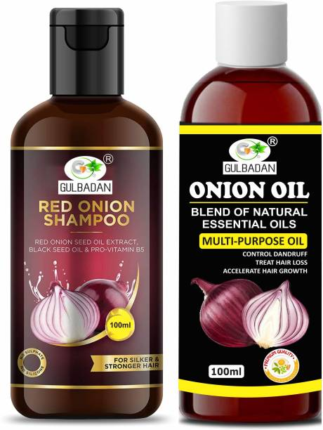 GULBADAN Red Onion Shampoo and Onion Oil for Hair Growth & Hair Fall Control, with Red Onion & Black Seed for Men, Women