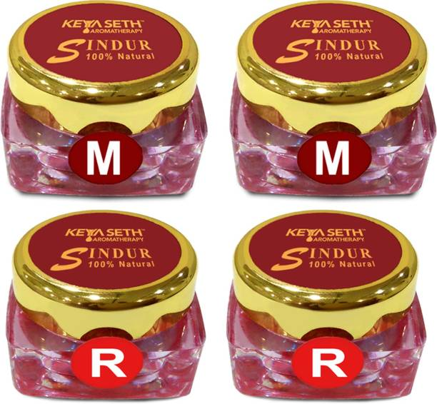 KEYA SETH AROMATHERAPY 100% Natural Dust Sindoor Red 2Pcs & Maroon 2Pcs with Herbs Extracts & Floral Pigments Kumkum, No Side Effects & No Hair Fall (Combo Pack) Sindoor