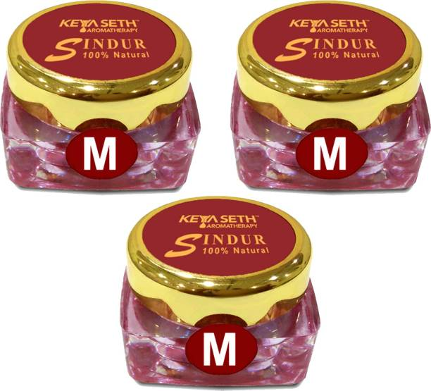 KEYA SETH AROMATHERAPY 100% Natural Dust Sindoor Maroon With Herbs Extracts & Floral Pigments Kumkum, No Side Effects & No Hair Fall (Pack Of 3) Sindur