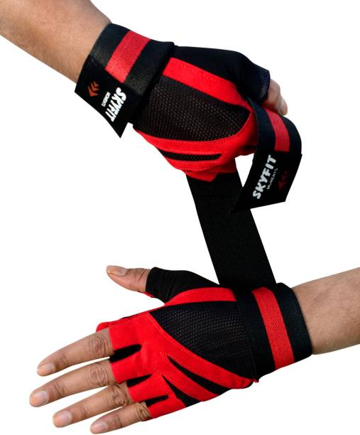 SKYFIT Genuine Netted with Sillica Padded Wrist Support Gym Sports Gloves Gym & Fitness Gloves