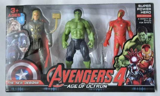 wafadar Avengers 3 in 1 Set- Iron-man,Hulk,Thor, Multi-color, For Kids Ages 3 and Up, Collectibles Action Toy