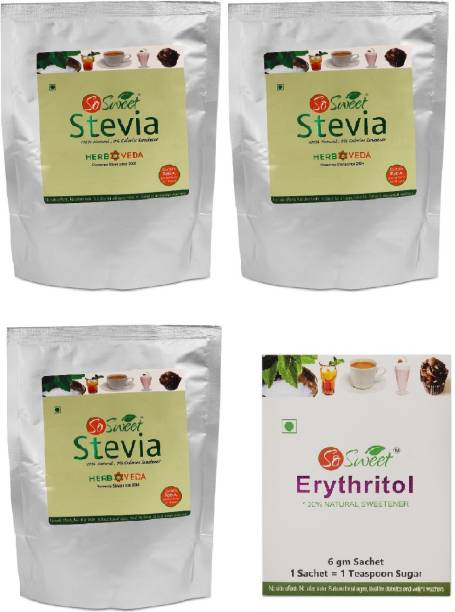 """SO SWEET Stevia 750gms Powder 100% Natural (Pack of 03)(250Gm Each) With """"FREE"""" Erythritol 30 Sachets Sweetener"""