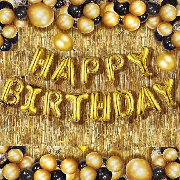 HERDEM Solid Happy Birthday Golden Foil Letter Balloons(13 foil latter 1 pack)With 30 Piece Black Gold Balloons And 2 Piece Golden Fringe Curtains Balloon