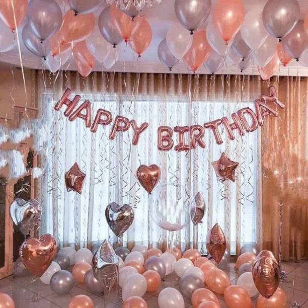 CherishX.com Solid Rosegold Balloons for Birthday Decoration Combo - 46 Pcs Combo - Perfect for Party Decoration at Home for your Wife, Girlfriend, Daughter - Rose gold Heart & Star Balloons Letter Balloon