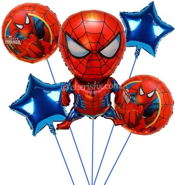 CherishX.com Printed Spiderman Theme Kid's Birthday Decoration Bunch - Pack of 5 Pcs Letter Balloon