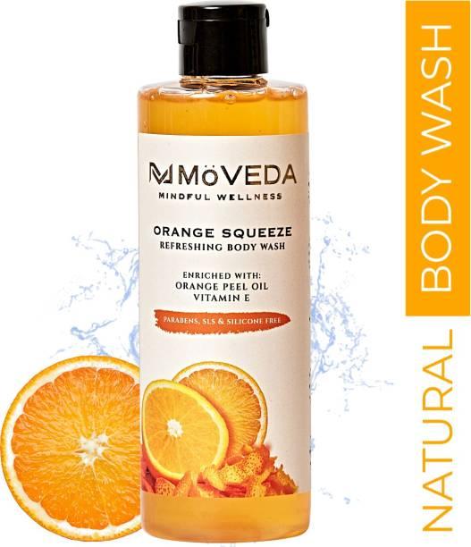 MoVEDA Orange Squeeze Refreshing Body Wash | 100% Natural Extracts, Vegan, No SLS, Parabens & Silicones | 250 ml