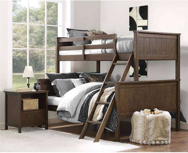 APRODZ Mango Wood Bussbe Kids Bunk Beds with Ladder for Bedroom   Brown Finish Solid Wood Bunk Bed