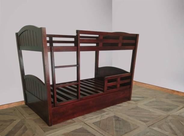 APRODZ Mango Wood Mingitc Kids Bunk Beds with Trundle for Bedroom   Brown Finish Solid Wood Bunk Bed